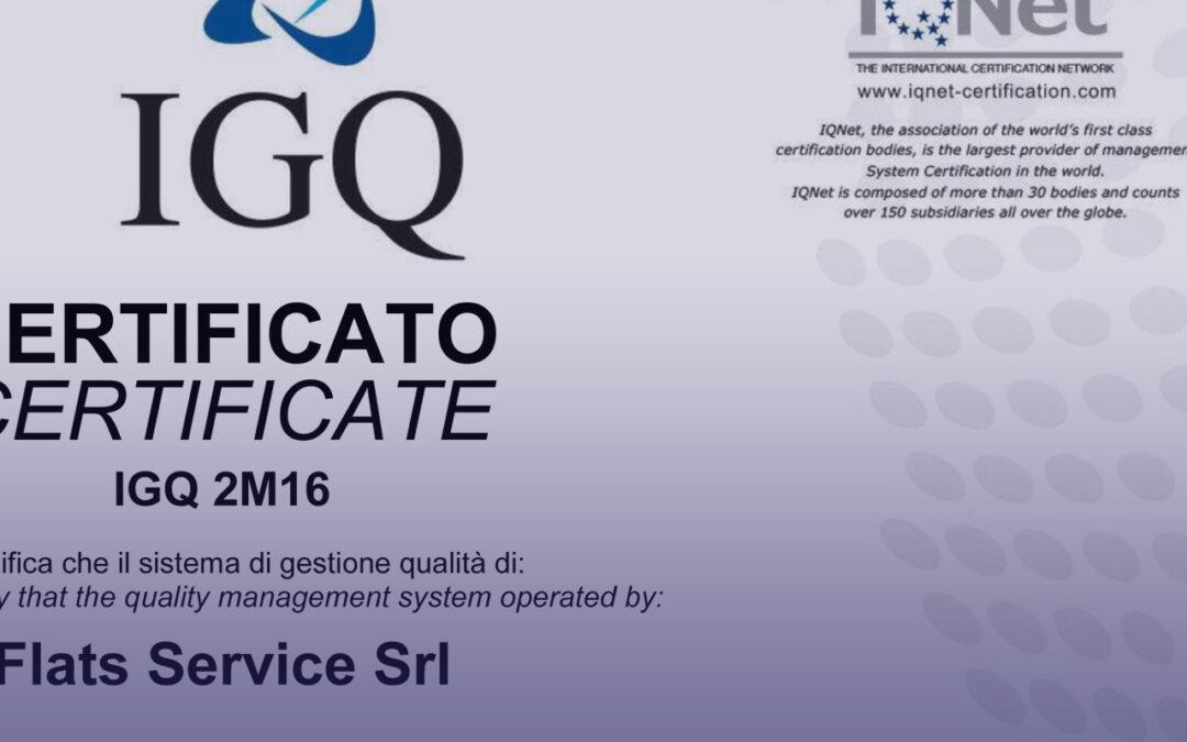 UNI EN ISO 9001:2015 FLATS SERVICE